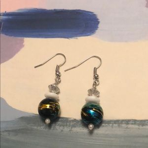 Jewelry - Beaded Black/Gold/Teal/White Dangle Earrings